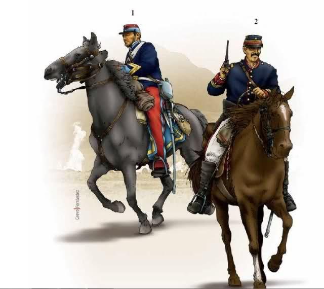 Chile; 1st Regiment 'Carabineros de Yungay', corporal, 1879 & Squadron Civico Antofagasta, Lieutenant, Mayo, 1879