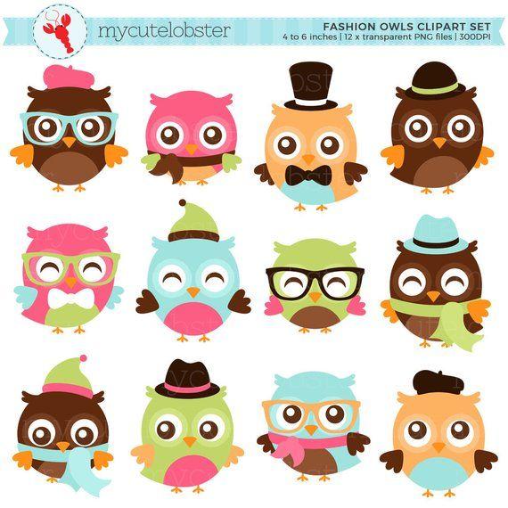 Fashion Owls Clipart Set Hipster Owls Clip Art Fashion Etsy Owl Clip Art Clip Art Digital Paper