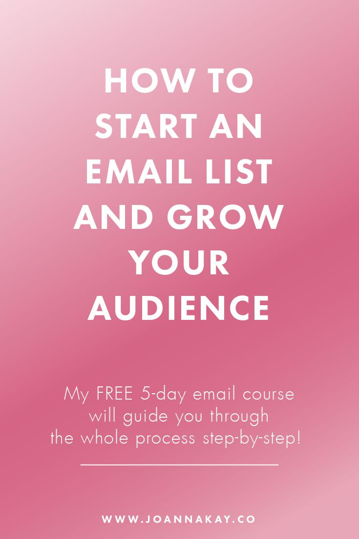 Don't know how to start an email list? Or struggling to get people to signup? This FREE 5-day email course will guide you through the whole process step by step! Click through to get immediate access to the first lesson.