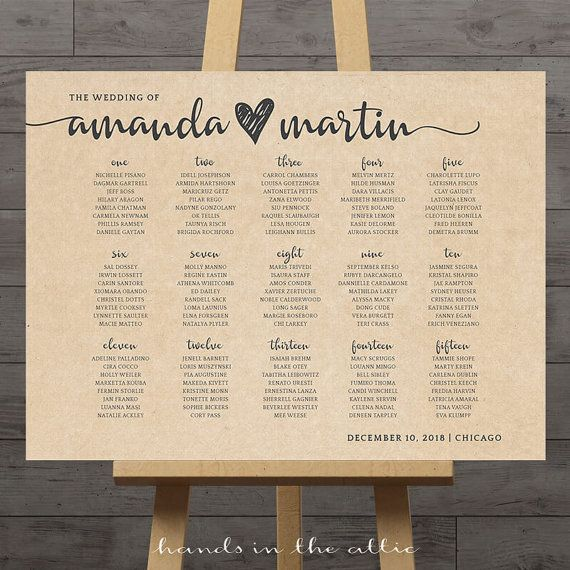 Large wedding seating chart printable guest table assignment list display sign rustic wedding reception poster DIGITAL customized PDF by HandsInTheAttic