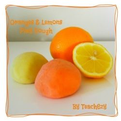 Play Dough Recipe- Oranges & Lemons FREE resource