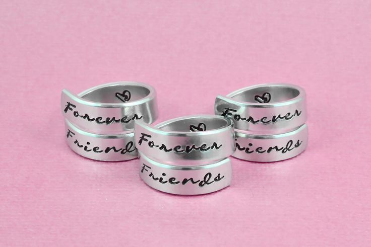 Forever Friends - Hand Stamped Aluminum Spiral Wrap Rings Set of 3, Sorority Sisters, Best Friends BFF Gifts, Besties Friendship Jewelry by WonderfulStamping on Etsy https://www.etsy.com/listing/485424429/forever-friends-hand-stamped-aluminum
