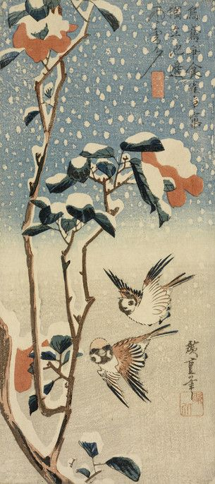 Utagawa Hiroshige Japanese, 1797-1858 Wakasaya Yoichi, publisher Japanese Tree Sparrows and Camellia in Snow (Setchû tsubaki ni suzume), 1830's Polychrome woodblock print with embossing/RISD Museum