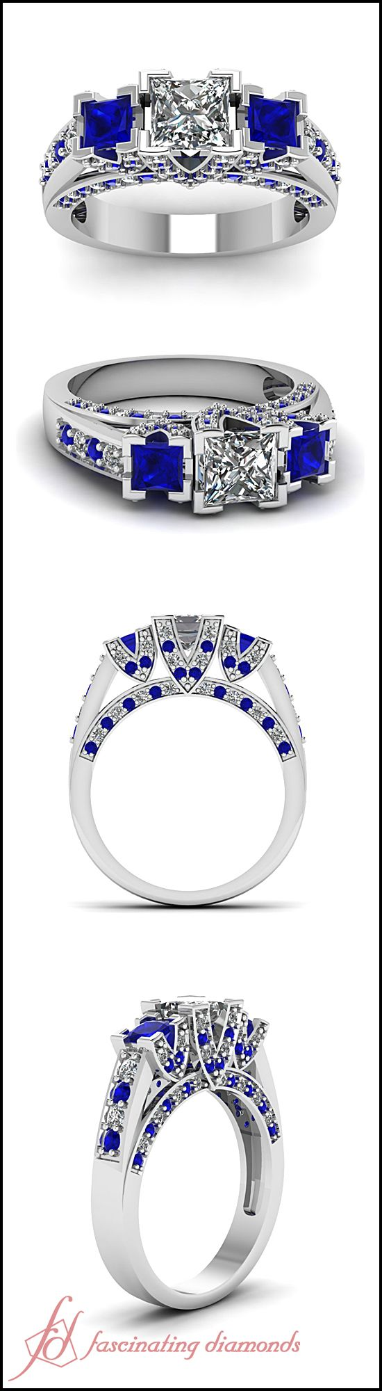 Princess Cut and Round Diamond Blue Sapphire 14k White Gold Side Stone Engagement Ring || Trellis V Ring