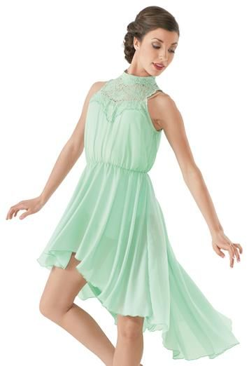 High-Low Lace Neck Overdress - this is such a pretty dance costume you could even wear to a party cause it's a pretty dress!
