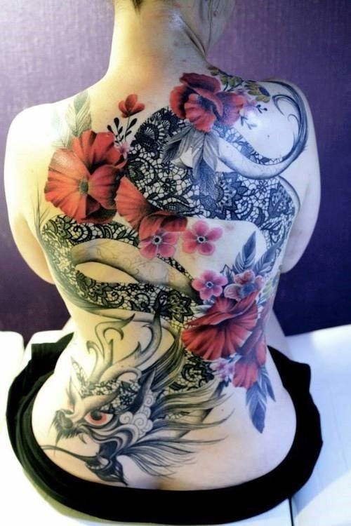 Amazing Back Dragon Flowers Tattoos for Women