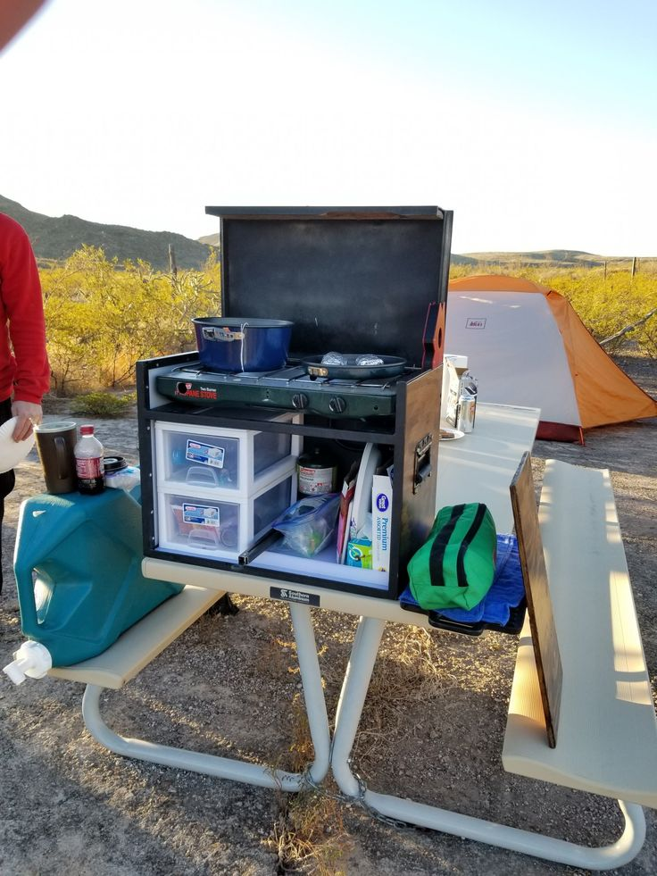 A good kitchen box makes camping so much easier. This kitchen box has a Coleman stove inside of it,multiple storage bins, and room for pots, pans, and plates. The break in trip was an overland style trip to Big Bend Ranch State Park. So far it was a big success.