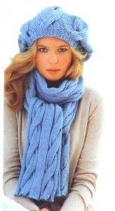 вязаный комплект с косами: объемный берет и шарф спицы
