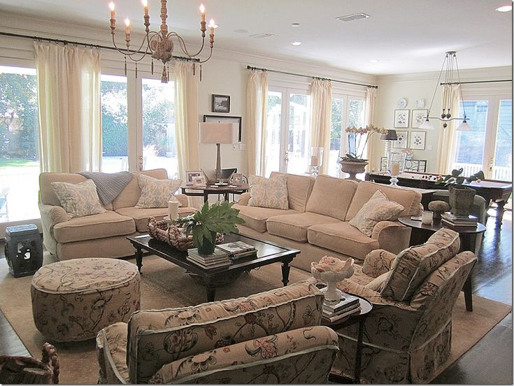 Top 25 ideas about large family rooms on pinterest - Open concept living room furniture placement ...