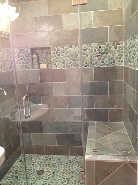bathroom designs with pebbles and glass mosaics - Google Search