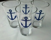 Boat anchor beer glasses, set of nautical themed pint glasses, mugs or wine glasses