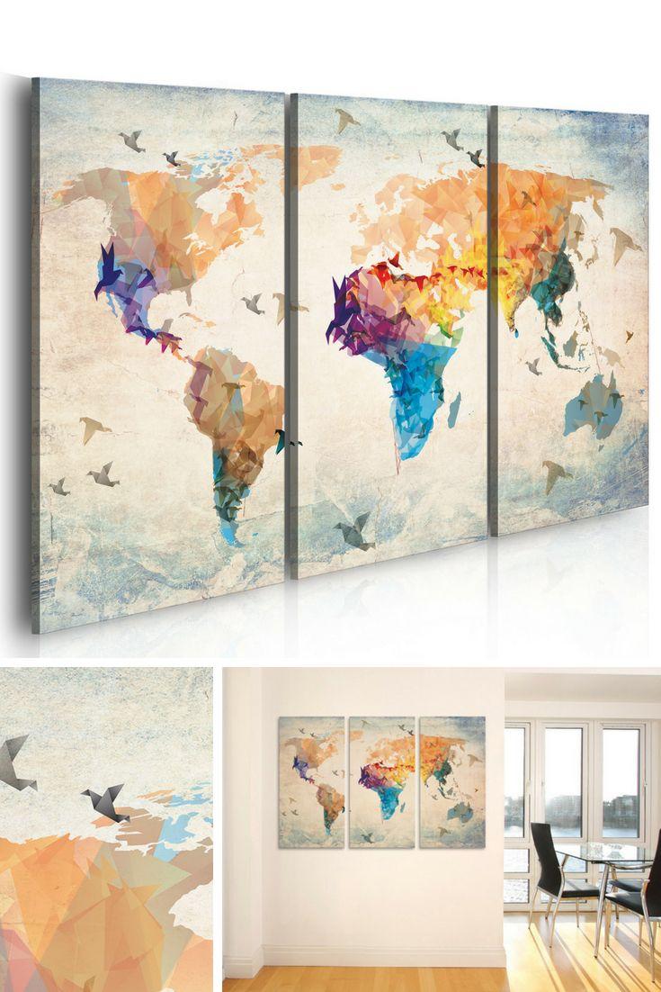 Décoration murale triptyque - 3 tableaux mappemonde - carte du monde artistique et originale pour donner une nouvelle ambiance à votre pièce