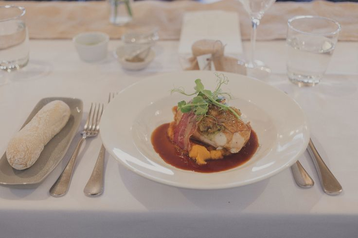 Waitoa Free Range Chicken Breast with provolone, basil & pinoli pine nut stuffing, sweet potato puree & prosciutto de parma. Wedding Photo credit - Jenny Siaosi Photographer