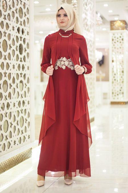 1808c2dee8d3e Nayla Collection - Beli Dantel Detaylı Bordo Tesettür Abiye Elbise 52546BR