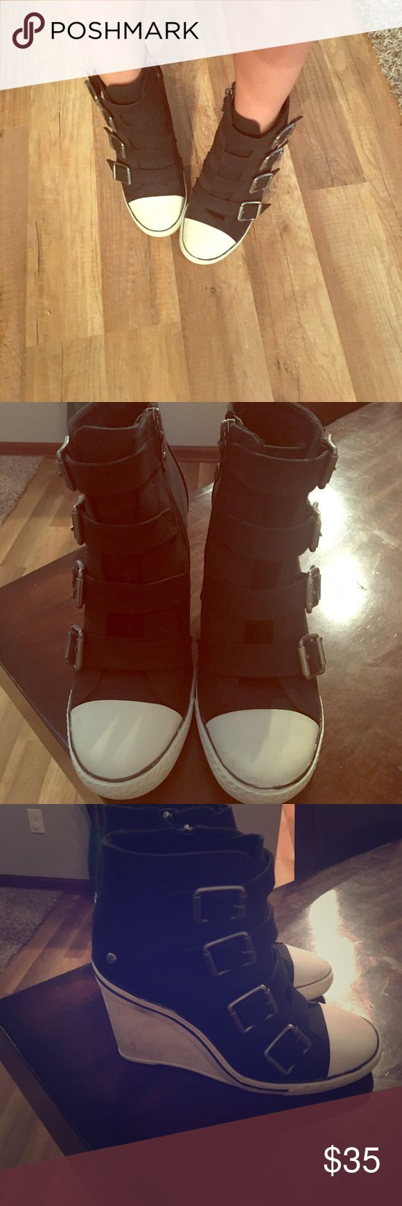 Vera Wang sneak wedge. Black and white sneaker wedges with cute buckle details. Brand new only worn in house never outside. Simply Vera Vera Wang Shoes Wedges