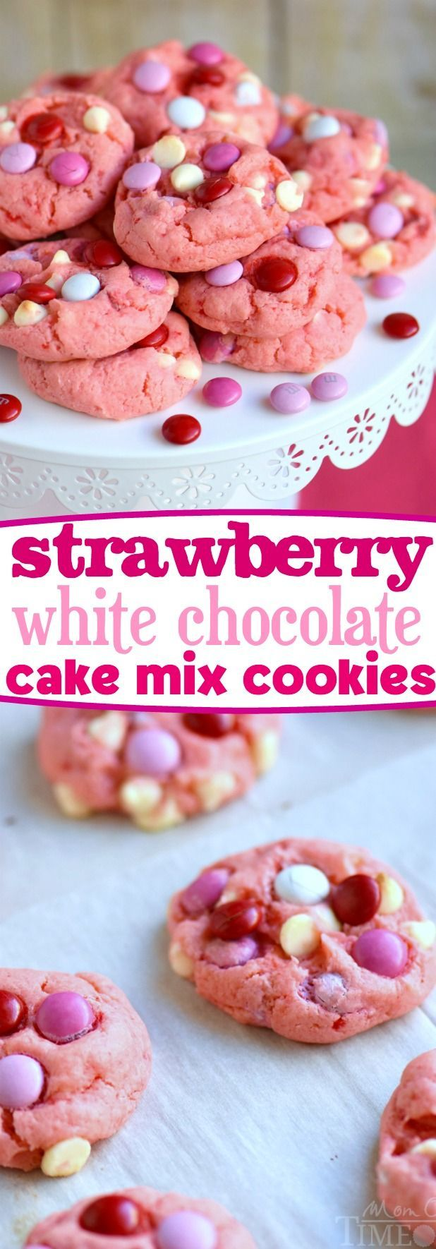 Super moist and delicious Strawberry and White Chocolate Cake Mix Cookies! This recipe uses a SECRET INGREDIENT for the moistest cookies EVER! So pretty and pink! Perfect for Valentine's Day, baby showers and more! // Mom On Timeout