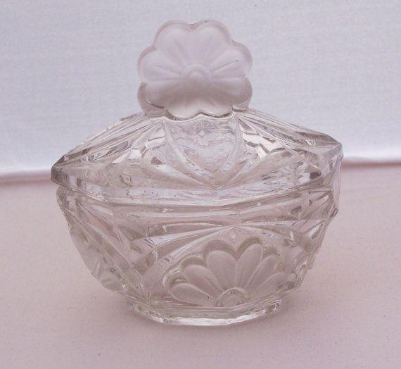 Vintage Clear Glass Trinket/powder/Jewelry by thesecretcupboard, £9.00