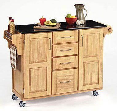 """Large Create a Cart with Black Granite Top (Natural) (36""""H x 52.5""""W x 18""""D)"""