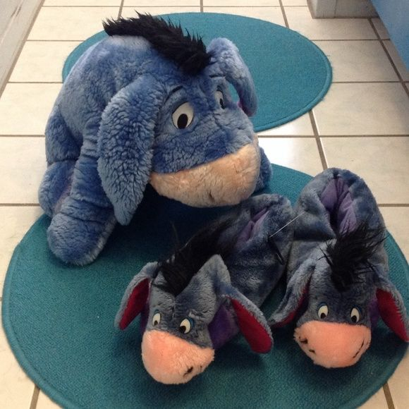 Eeyore slippers and large stuffed animal So cute! Slippers are NEW with TAGS! Adult slippers! Disney Shoes Slippers