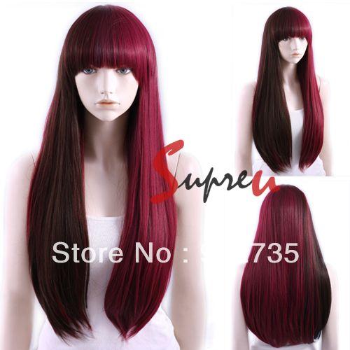 Harajuku Long Straight  Dark Brown Mixed Burgundy Fashion Hair Wig With Bangs US $28.98
