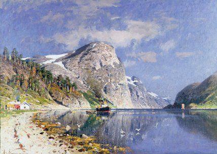 Un vapeur de Fjord de Adelsteen Normann (1848-1918, Norway)