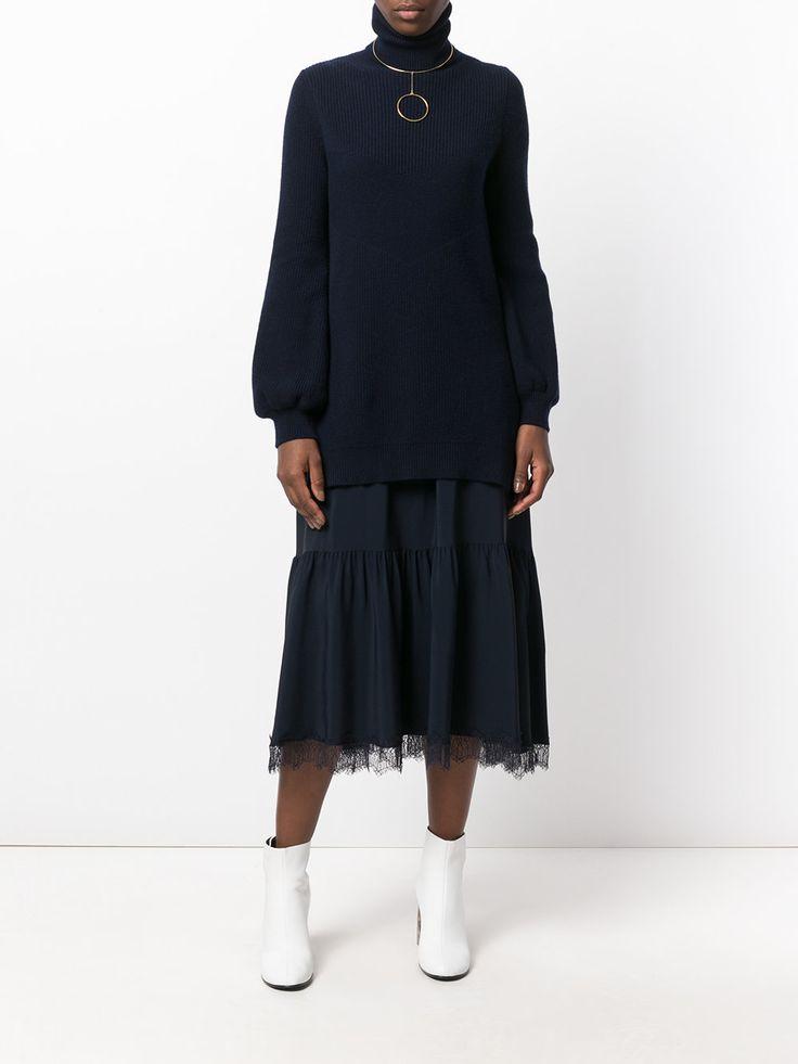 Nº21 многослойное платье с высоким горлом