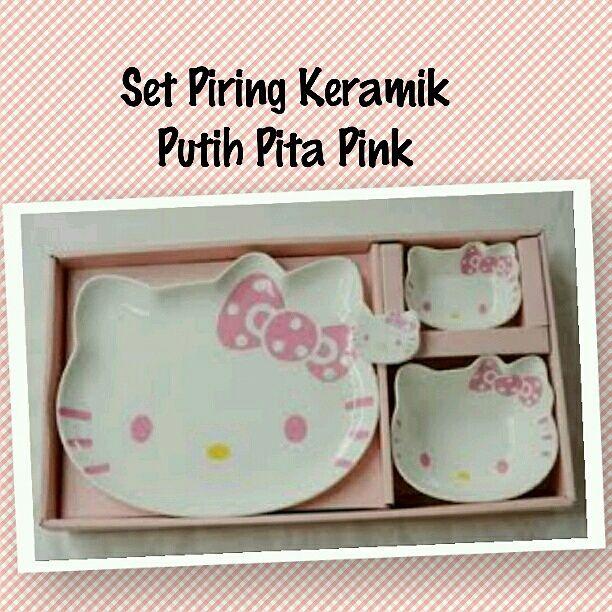 Piring Keramik Set Hello Kitty murah grosir ecer putih pita pink ~ Toko Cherish Imut