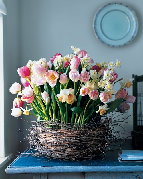 This oversize nest (a birch-wrapped basket) cradles an exuberant mix of blooms from spring-flowering bulbs.