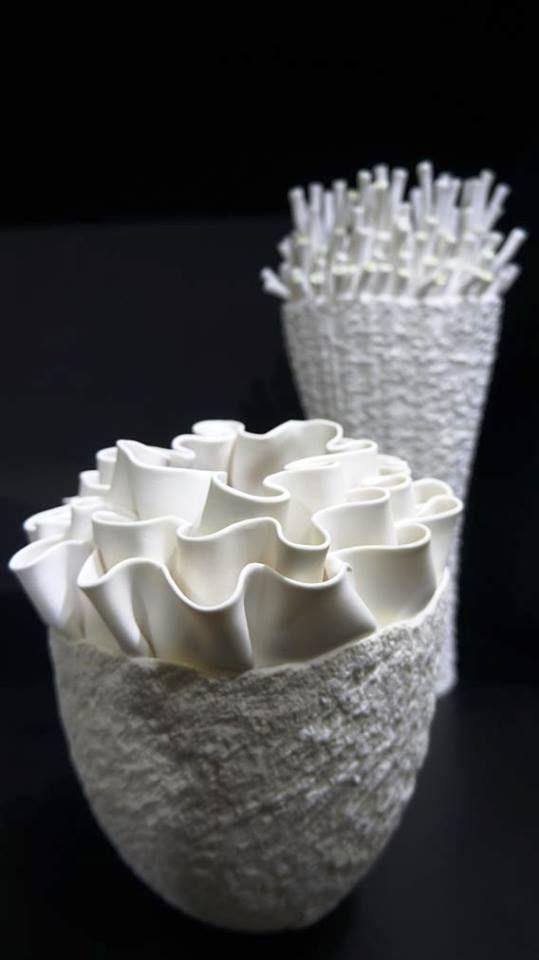 Maison & Objet Singapore. Sea creature inspired organic ceramic sculpture www.fosceramiche.it | white contemporary fine art