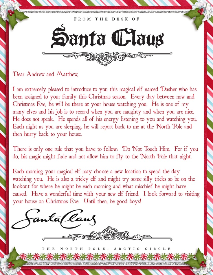 Elf On A Shelf Adventures   Welcome Letter