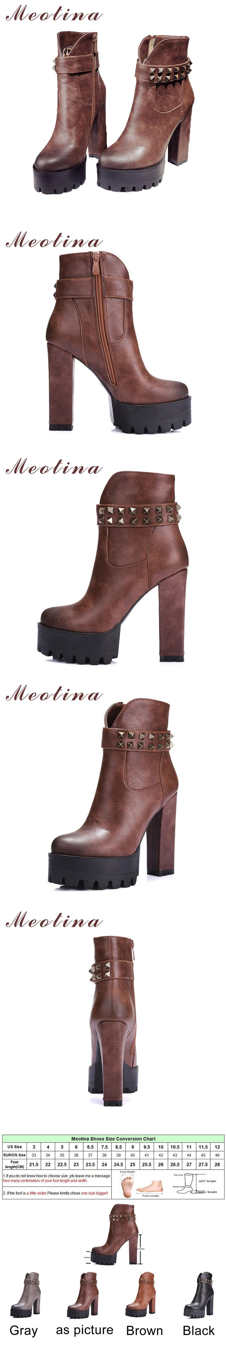Meotina Women Motorcycle Boots Rivets Punk High Heel Ankle Boots Autumn Winter Platform High Boots Zip Ladies Shoe Gray Black 42