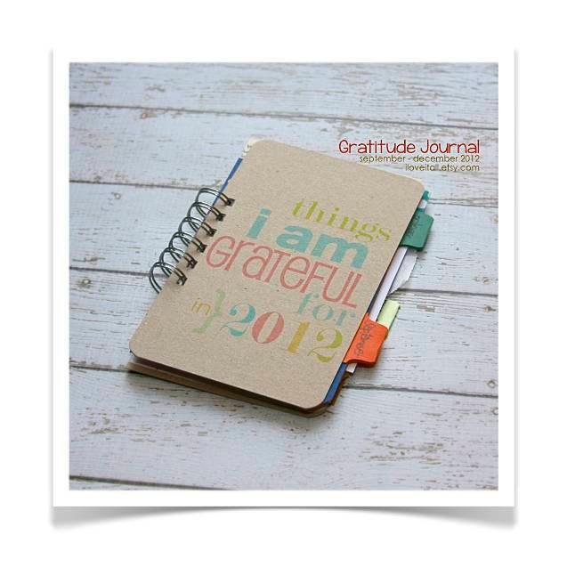 Gratitude Journal . Personal Diary Journal . September - December 2012 // Everyday Blessings Daily Document Book Notebook Thankful Grateful