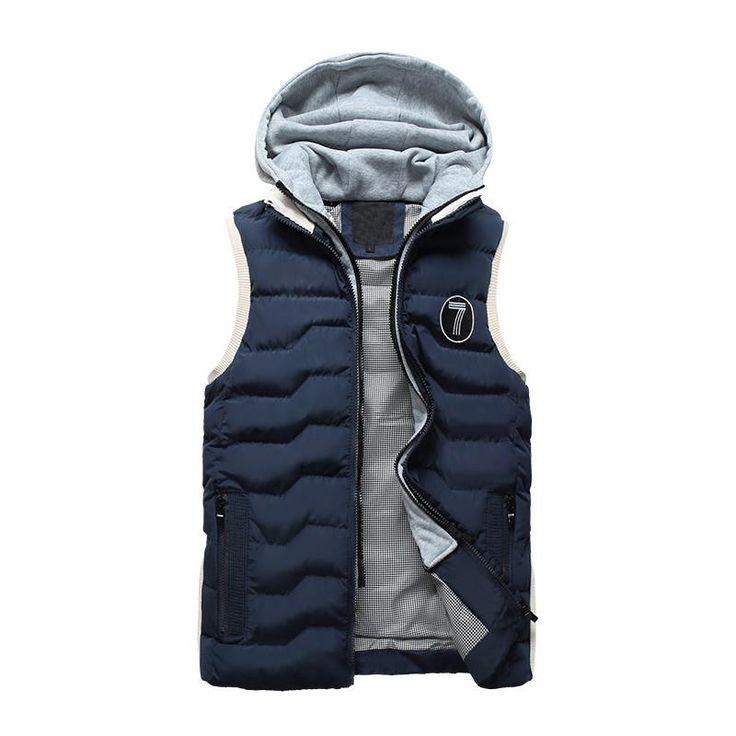 Men's Vest Fashion Slim Fit Winter Sleeveless Jacket Men Autumn Hooded Waistcoats Coletes Masculino Casual Cotton Vesta Hommer