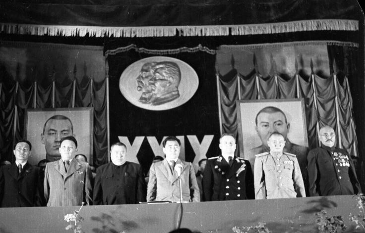 (L. to R.), Tsedenbal (2), Choibalsan (6) and mongol president Gonchigiin Bumtsend (7), (maybe in 1950's) in a Party Congress.