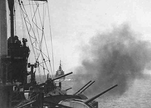 Battle of Syria 1940-1942: HMAS PERTH off Lebanon supports AIF at battle of Damour, July 5-9, 1941.