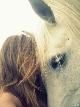 a girl and horse