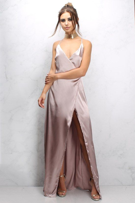 Pink Satin Strappy Maxi Dress