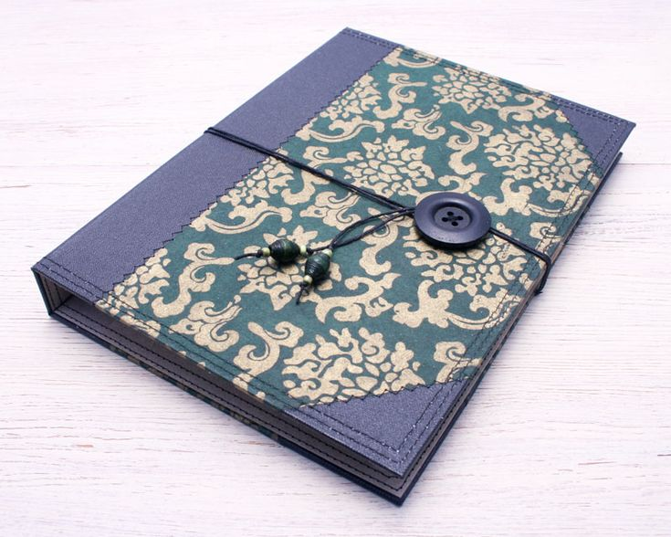 Stylish green and black notebook cover folder with notebook and pen included! Handcrafted by Little Deer Studio