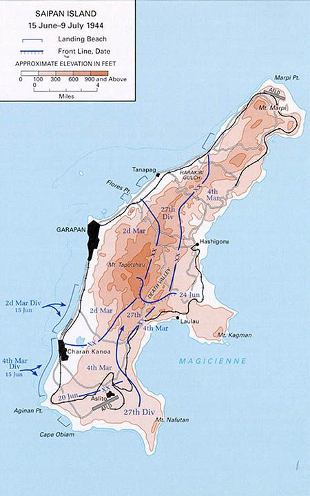 OP FORAGER - June 15, 1944, during the Pacific Campaign of World War II (1939-45), U.S. Marines stormed the beaches of the strategically significant Japanese island of Saipan, with a goal of gaining a crucial air base from which the U.S. could launch its new long-range B-29 bombers directly at Japan's home islands.