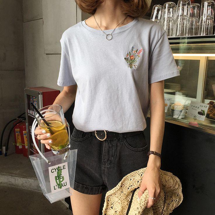 2 colores 2017 del resorte breve ramo de flores de cáñamo jersey de algodón bordado de manga corta para mujer t shirt de femme en Blusas y Camisas de Ropa y Accesorios de las mujeres en AliExpress.com | Alibaba Group