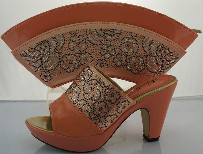 Neue Design Hochzeit Schuhe Und Tasche High Heels Pfirsich Farbe afrikanischen Stil Schuhe Und Passende Tasche Set Italien Pumpt Schuhe ME2212 //Price: $US $55.77 & FREE Shipping //     #abendkleider