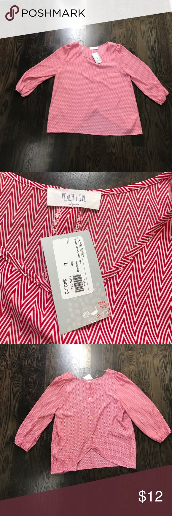 NWT Red Chevron Top NWT Red Chevron top. Light-weight and silky. Cute with white jeans or shorts. Peach Love Tops