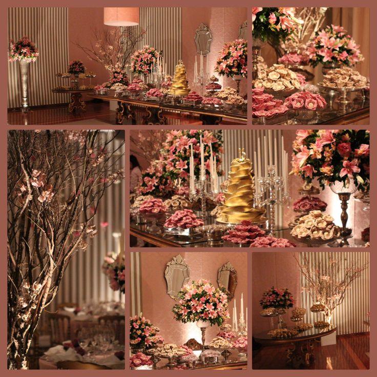Mesa de doces em Rosa seco e fendi -  festa de 15 anos .