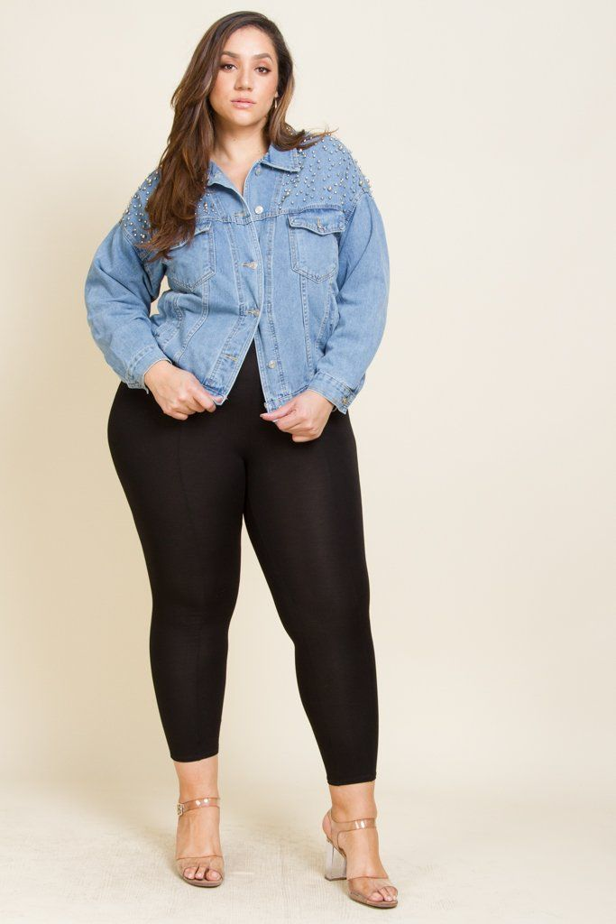 ef994ed31e6 Plus Size Studded Denim Jacket. Plus Size Button Up 4 Pockets Silver Ball  Design Shoulders Model is 6 0 wearing 3X 95%COTTON 5%POLY Imported