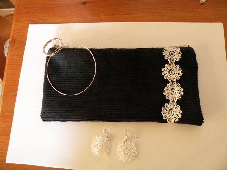 Pochette velluto e orecchini pizzo di bandullera su DaWanda.com