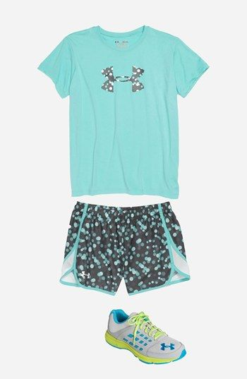 Under Armour Logo Tee & Print Shorts (Big Girls)  available at #Nordstrom