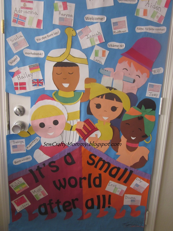 "Multicultural week for school door decoration ""It's a Small World"" Spin off.  El mundo es un pañuelo..."