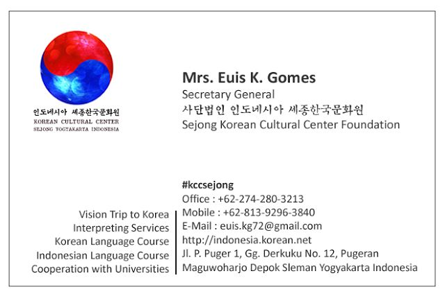 Mengumumkan Ketua baru di Yayasan Pusat Budaya Korea Sejong Yogyakarta Indonesia