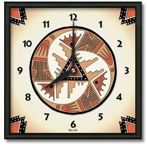Red Rock Square Metal Wall Clock - From our Southwestern Clocks category, this clock is inspired by traditional Native American pottery designs.  $50.00