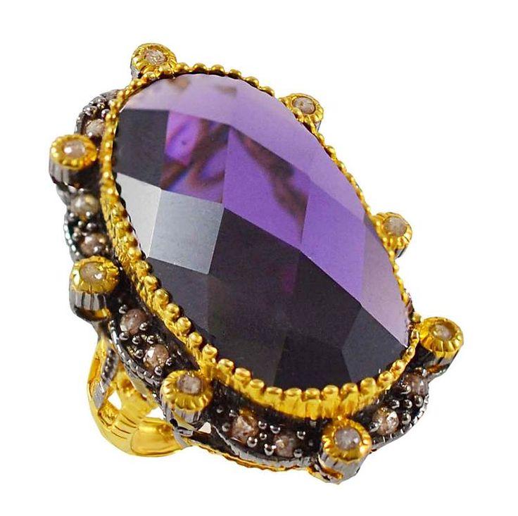 ES199- Ασημένιο επίχρυσο δαχτυλίδι με μεγάλη μωβ πέτρα